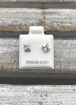 Sterling Silver Square Cubic Zirconia 4mm Stud Earrings