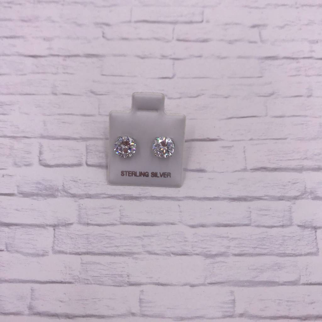 7mm Sterling Silver Stud CZ Earrings Round