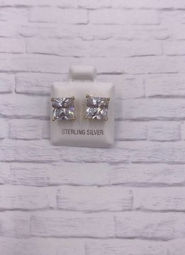 Sterling Silver Gold Plated Square 8mm Stud Earrings