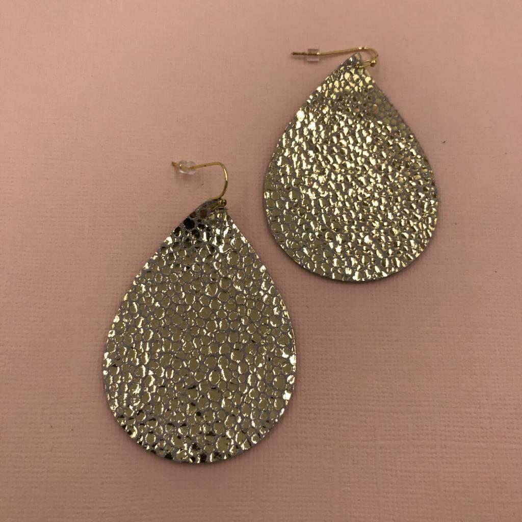 Cecelia 12k Gold Genuine Leather Bubble Earrings