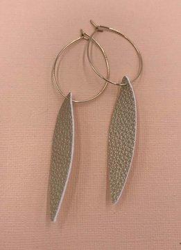 Cecelia 12k Gold Gold Genuine Leather Hoop Earrings