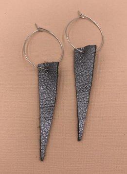 Cecelia Sterling Silver Genuine Leather Hematite Hoop Earrings