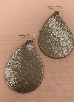 Cecelia 12k Gold Genuine Leather Gold Shimmer Earrings