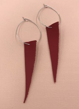 Cecelia Sterling Silver Genuine Leather Candy Apple Hoop Earrings