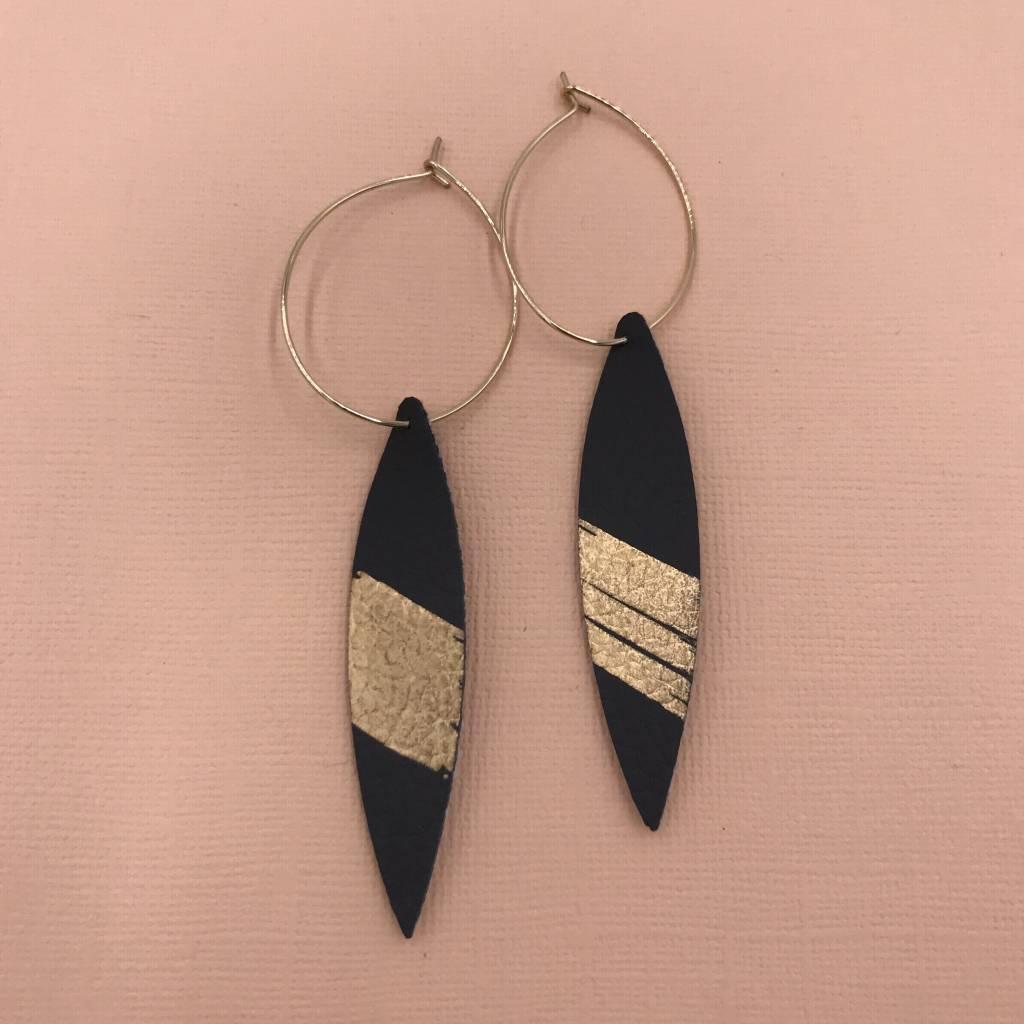 Cecelia 12k Gold Genuine Leather Charcoal Splash Hoop Earrings