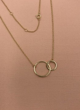 iiShii Sterling Silver Gold Plated Double Circles Necklace