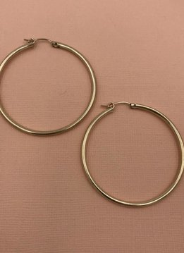 iiShii Sterling Silver Gold Plated 1 7/8 inch Hoop Earring