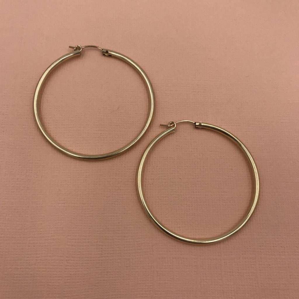 Iishii Sterling Silver Gold Plated 1 7 8 Inch Hoop Earring