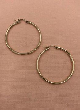 iiShii Sterling Silver Gold 1 1/2 inch Hoop Earring