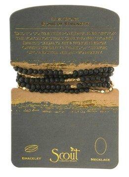 Scout Black Lava Rock Stone Wrap Bracelet or Long Necklace