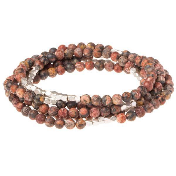 Scout Red Marbled Leopard Jasper Stone Wrap Bracelet Or Long Necklace