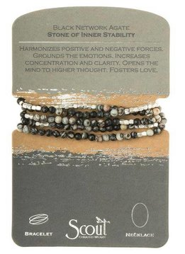 Scout White and Black Network Agate Stone Wrap Bracelet or Long Necklace