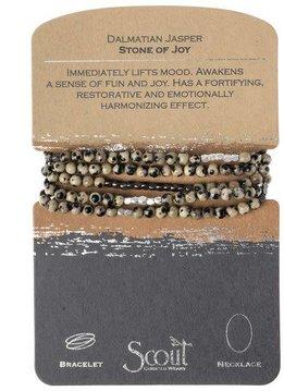 Scout Dalmatian Jasper Stone Wrap Bracelet or Long Necklace
