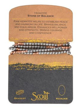Scout Hematite Stone Wrap Bracelet or Long Necklace