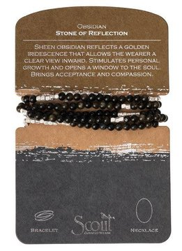 Scout Obsidian Stone Wrap Bracelet or Long Necklace