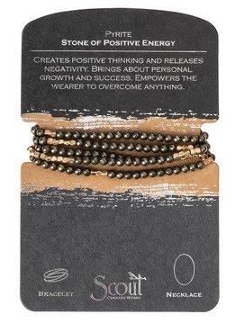 Scout Pyrite Stone Wrap Bracelet or Long Necklace
