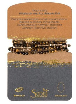 Scout Tiger's Eye Stone Wrap Bracelet or Long Necklace