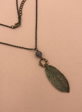 Edgy Petal Labradorite Beaded Leaf Necklace on Long Brass Chain