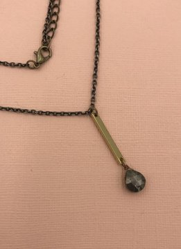 Edgy Petal Pyrite and Brass Vertical Bar Necklace