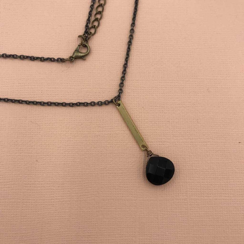 Edgy Petal Black Onyx and Brass Vertical Bar Necklace