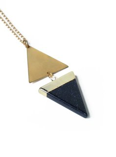 Larissa Loden Golden Brass Blue Goldstone Echo Necklace