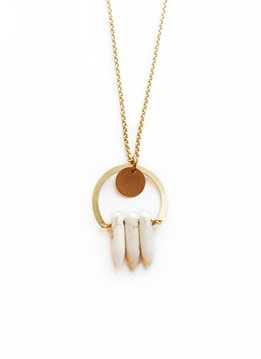 Larissa Loden White Spear Saba Golden Brass Necklace