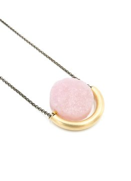 Larissa Loden Rose Quartz Sun and Moon Golden Brass Necklace