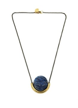 Larissa Loden Lapis Sun and Moon Golden Brass Necklace