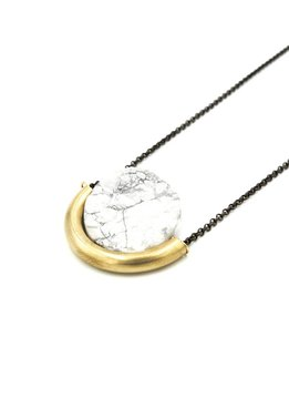 Larissa Loden Howlite Sun and Moon Golden Brass Necklace