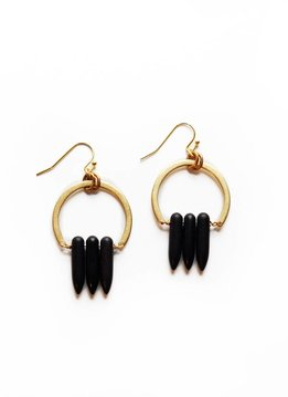 Larissa Loden Black Magnesite Spike Atum Golden Brass Earrings