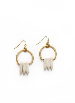 Larissa Loden White Spike Atum Golden Brass Earrings