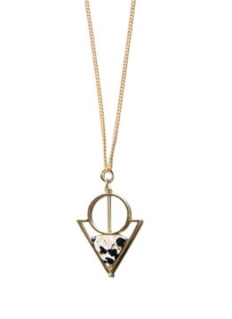 Michelle Starbuck Dalmatian Jasper Paradox Gold 24 inch Necklace