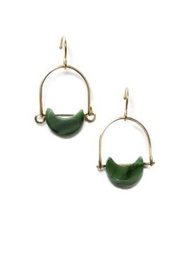 Michelle Starbuck 14K Gold Filled African Jade Mini Eclipse 1 inch Earrings