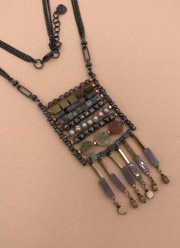 Nakamol Gunmetal Long Necklace with Beaded Fringe Pendant