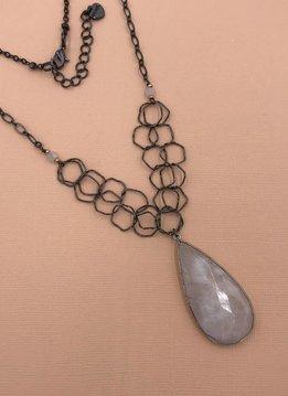 Nakamol Gunmetal Long Necklace with Moonstone Teardrop Pendant