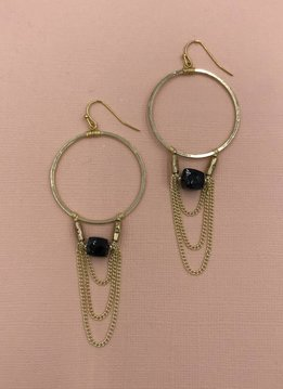 Nakamol Gold Hoop Earrings with Black Stone and Dangling Chain