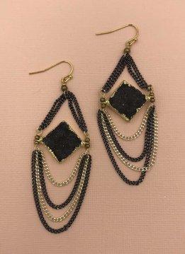 Nakamol Diamond Druzy Gold and Gunmetal Dangle Earrings