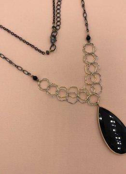 Nakamol Gunmetal Long Necklace with Black Teardrop Pendant