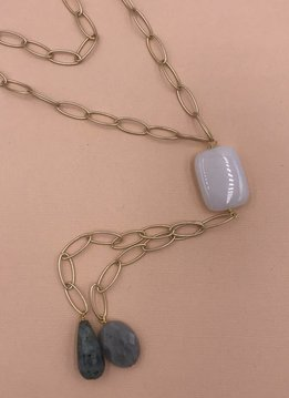 Inspire Designs Gold Beacon Long Necklace with Milky White and Labradorite Stones