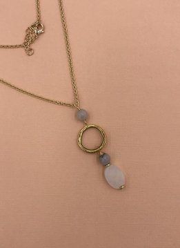 Inspire Designs Gold Everlasting Long Necklace with White Druzy Pendant