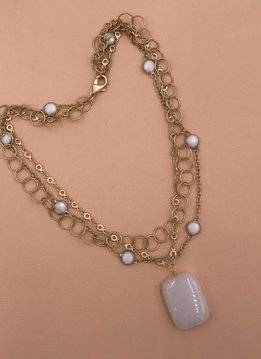 Inspire Designs Short Gold Cloud Medley Necklace with White Stone