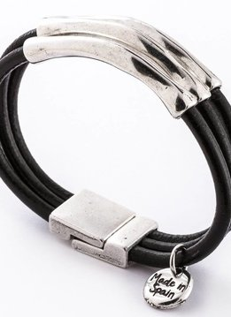Trades Black Leather Bracelet With Three Silver Metal Bars And Magnetic Clip