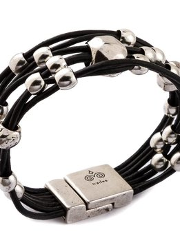 Trades Black Leather Bracelet With Silver Beads And One Large Bead And Magnetic Clip