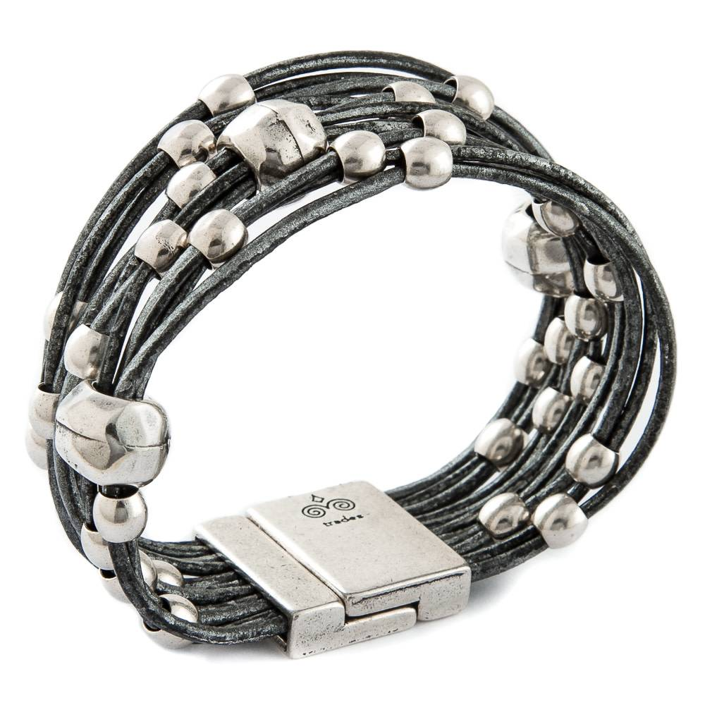 Trades Silver And Black Leather Bracelet With Silver Beads and Three Large Beads And Magnetic Clip