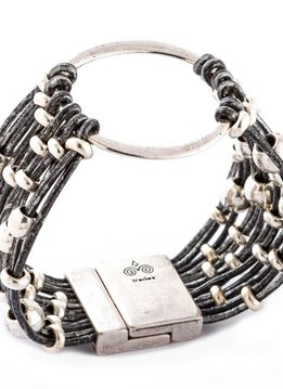 Trades Silver And Black Leather Bracelet With Silver Beads And One Large Silver Circle And Magnetic Clip