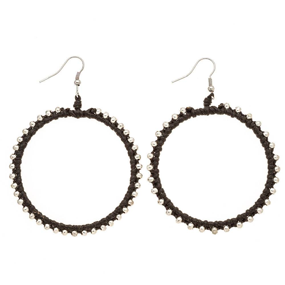 Trades Black And Silver Leather Beaded Hoop Earrings