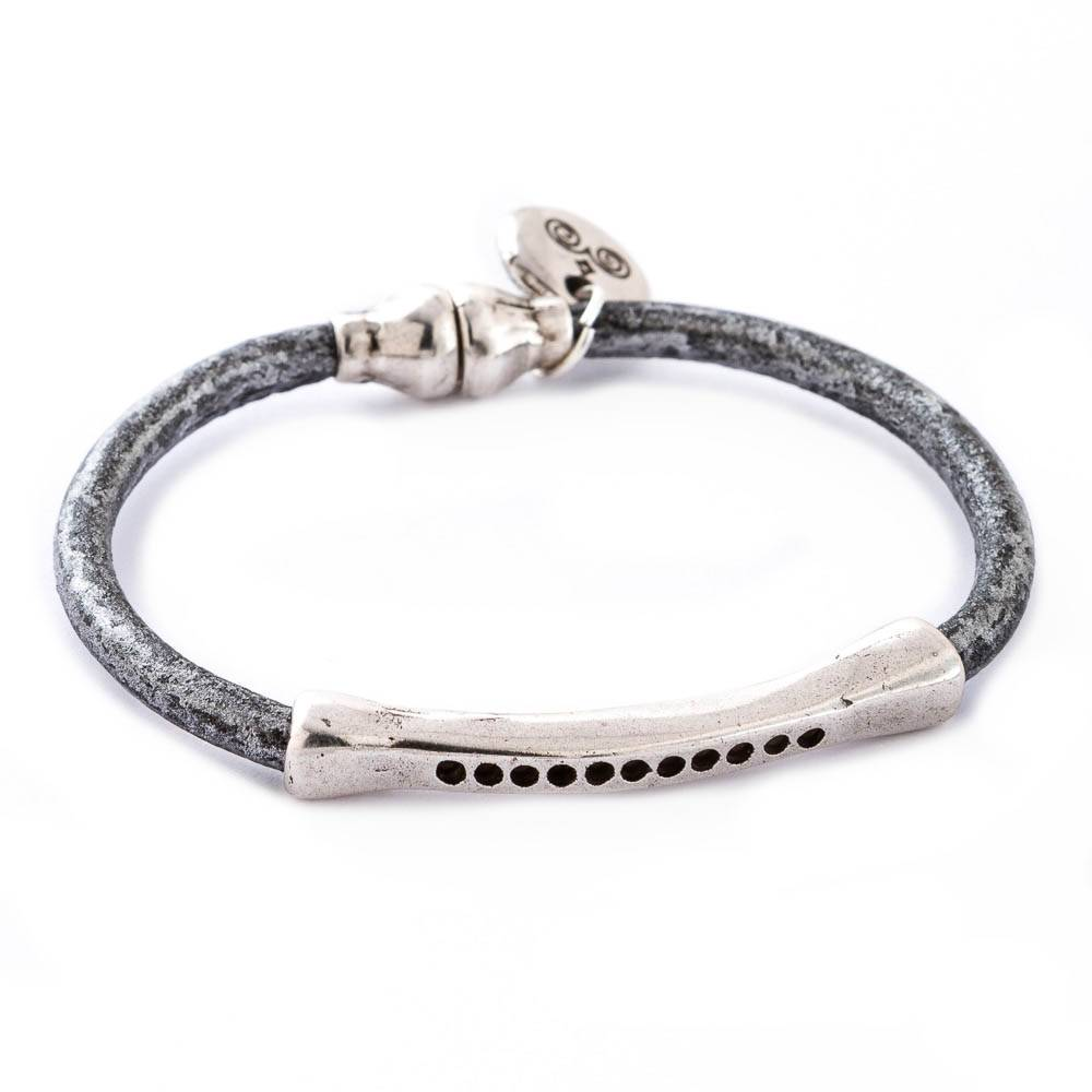 Trades Black and Gray Leather Bracelet With Trades Charm And Magnetic Clip