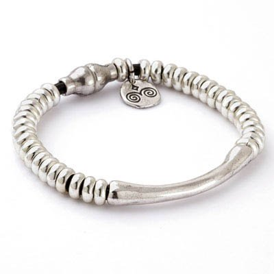Trades Black Leather Bracelet With Silver Beads And One Silver Bead And Magnetic Clip