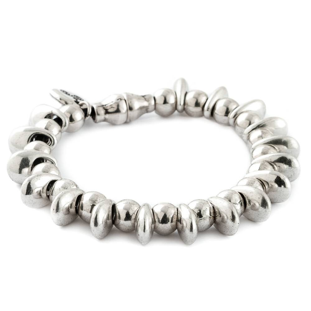 Trades Silver Beaded Bracelet With Magnetic Clip