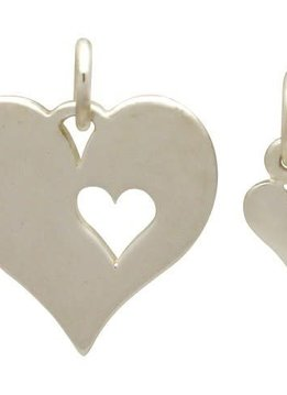 Sterling Silver Mother Daughter Heart Charm Set